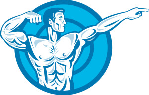 Bodybuilder Flexing Muscles Pointing Side Retro
